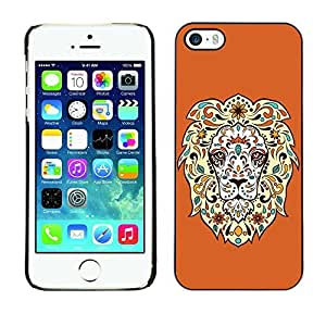YOYO Slim PC / Aluminium Case Cover Armor Shell Portection //Cool Awesome Floral Lion //Apple Iphone 5 / 5S
