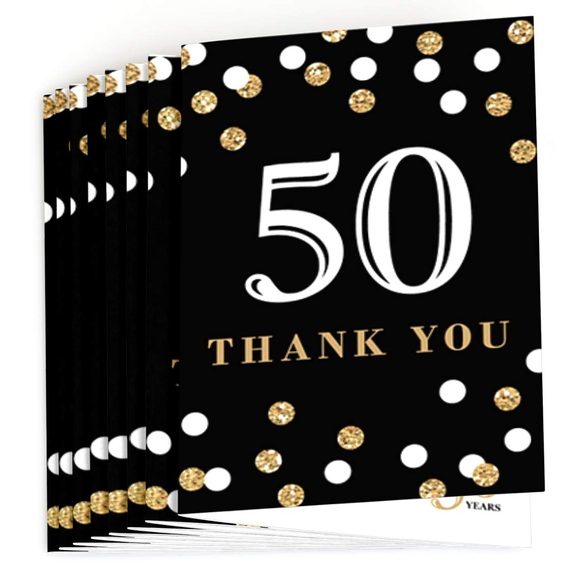 Big Dot of Happiness Adult 50th Birthday 8 Count Gold Birthday Party Thank You Cards