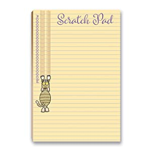 "Cat Scratch Pad Funny Notepad with Magnet - 8.5"" x 5.5"" - Funny Cat Notepad 50 Sheets - Made in USA - Grocery, Shopping, Daily Tasks List (Scratch Pad)"