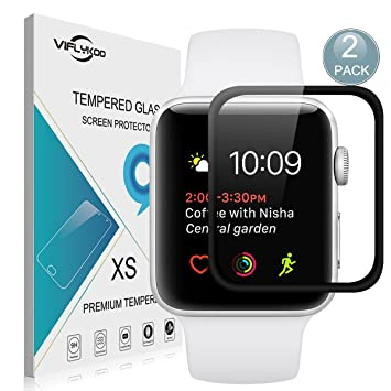 Apple Watch Series 2 42mm Protector de Pantalla,[2-Pack]VIFLYKOO Apple Watch Series 2 Touch Cristal Vidrio Templado Protector 9H Tempered Glass Screen ...