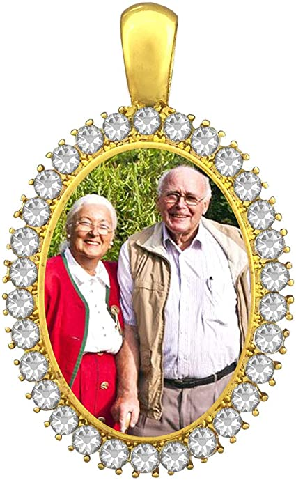 Wedding Bridal Bouquet Photo Charm Silver Round Circle Rhinestone w//Photo Resizing Software