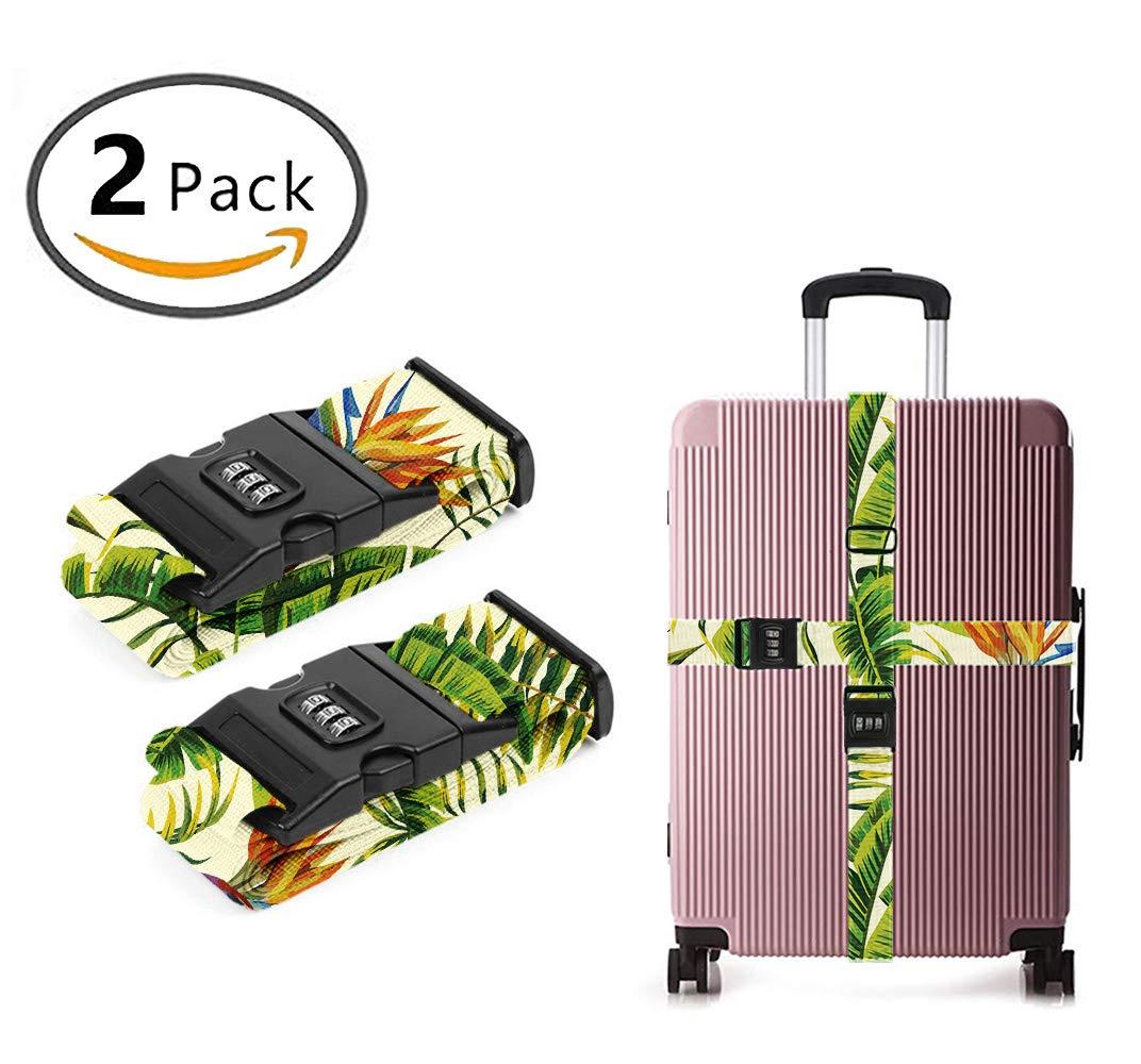 OKAYDECOR 3 Dial Combination Lock Luggage Strap Hawaiian Color Flowers [Set of 2]