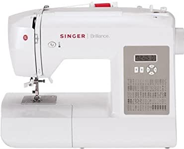 SINGER | Brilliance 6180 Portable Sewing Machine with Easy Threading and Free Arm, White/Gray