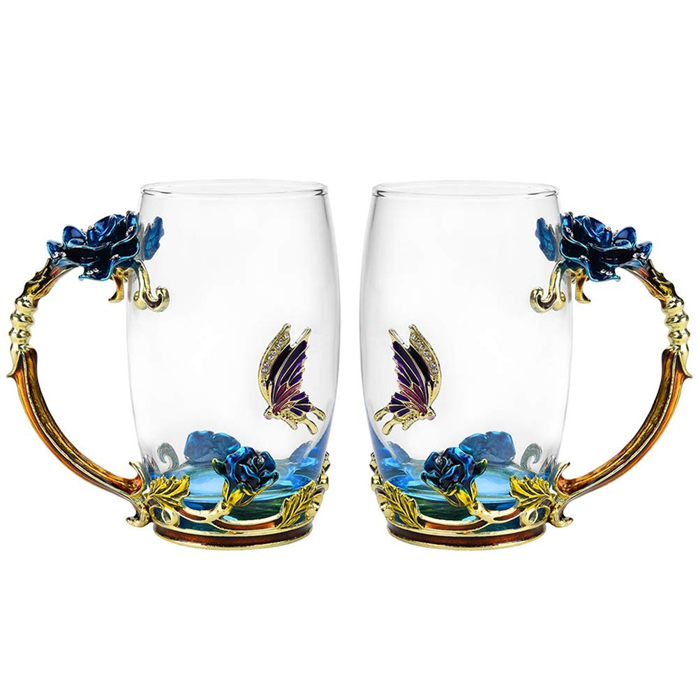Glass Tea Cup Set [2-Pack], TIANG 12oz Lead-Free Butterfly and Blue Rose Flower Tea Mug with Handle, Unique Personalized Birthday Present Ideas for Women Grandma Mom Teachers Hot Beverages Wife