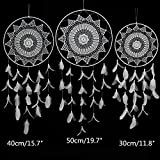 CHICIEVE Large Dream Catchers, Extra Big White Goose Feathers Handmade Decorative Wall Hanging Ornaments for Wall Bedroom Party by (3PCS)