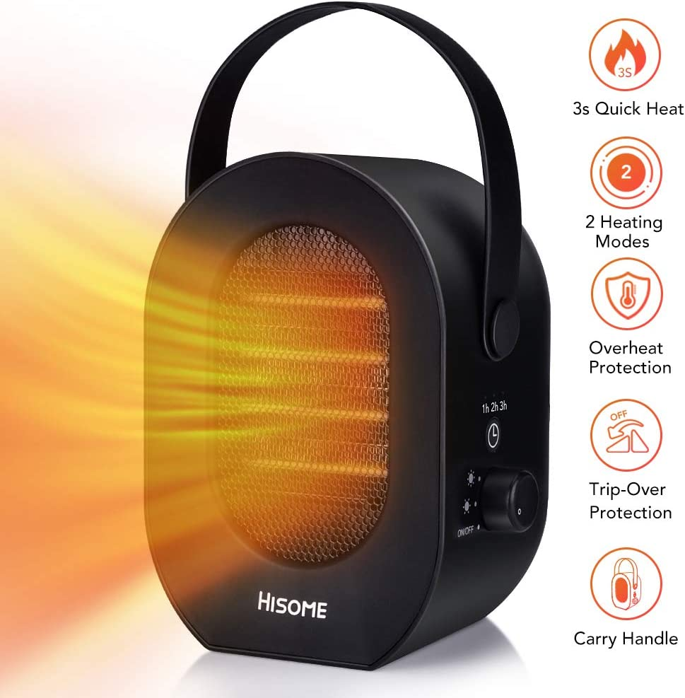 Hisome Portable Space Heater, 1200W 600W Indoor Heaters Fan, Electric Heaters, 2 Modes 3 Timing, Desktop Electric Warmer with Over Heat Tip-Over Protection for Home and Office