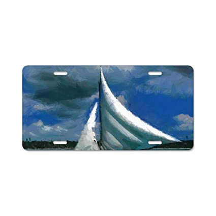 Amazon com: YEX Sailboat Painting License Plate Frame with 4 Holes