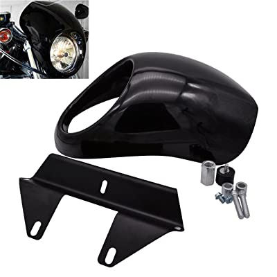 KATUR Headlight Fairing Covers Front Head Light Cowl Fork Mount Headlamp Visor Bracket Kit for 1973 Up Harley Sportster Cafe Drag Dyna FX XL: Automotive