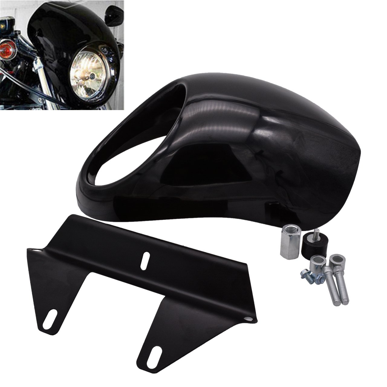 KaTur Headlight Fairing Covers Front Head Light Cowl Fork Mount Headlamp Visor Bracket Kit for 1973 up Harley Sportster Cafe Drag Dyna FX XL
