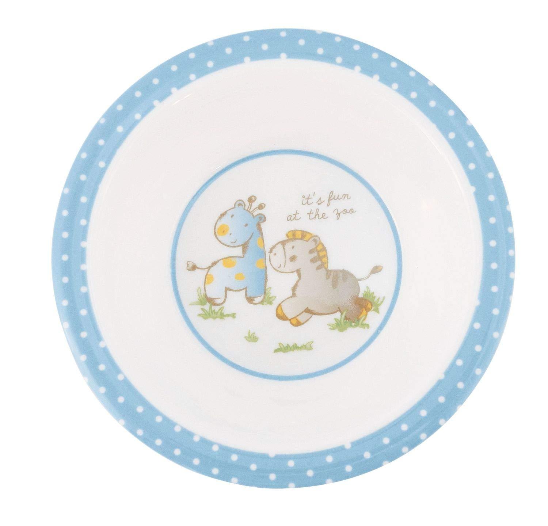 Bieco 04000268 Geschirrset mit Tiermotiv blau Kindergeschirr aus Melamin 5-teiliges Set Geschirr f/ür Kleinkinder