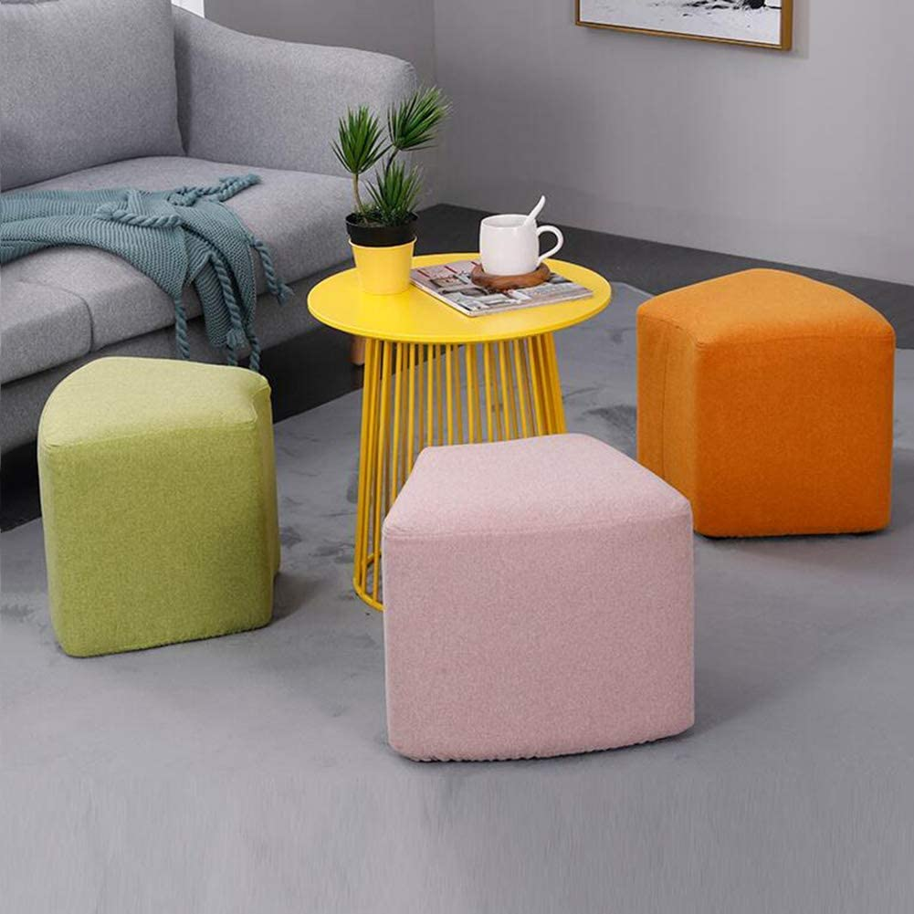 GPWDSN Fußbank Schuhe Hocker Moderne Sofa Hocker Stoff Osmanen Wear Startseite Hocker Quadrilateral Design-Hellgrau Pink