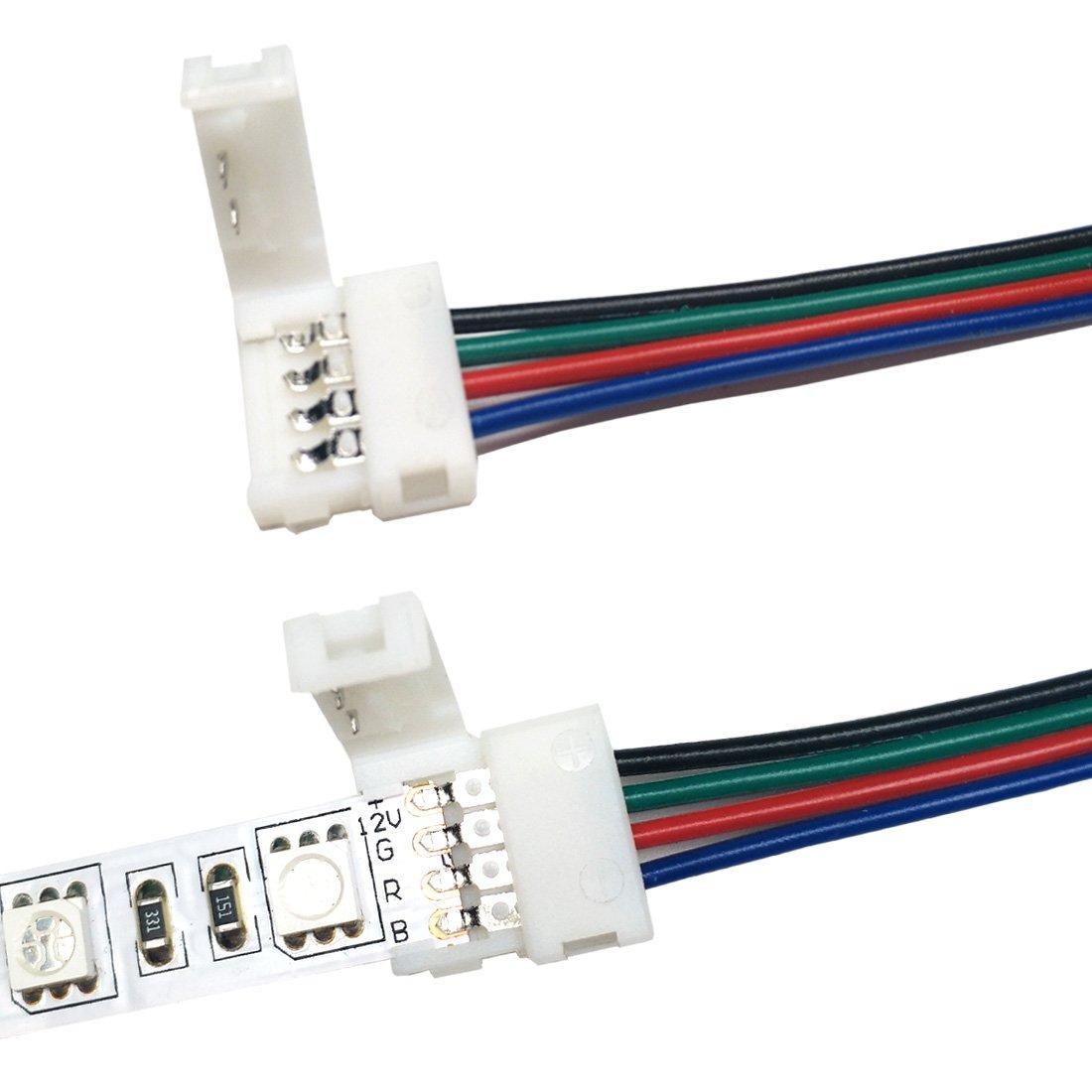 Liwinting 2x 3m RGB Verbindung Verl/ängerungskabel 4 Polig Anschlusskabel RGB Verbinden Kable f/ür LED SMD 5050 3528 2835 RGB LED Streifen Kostenlos mit 4 St/ück 4 Polig Verbinder Wei/ß