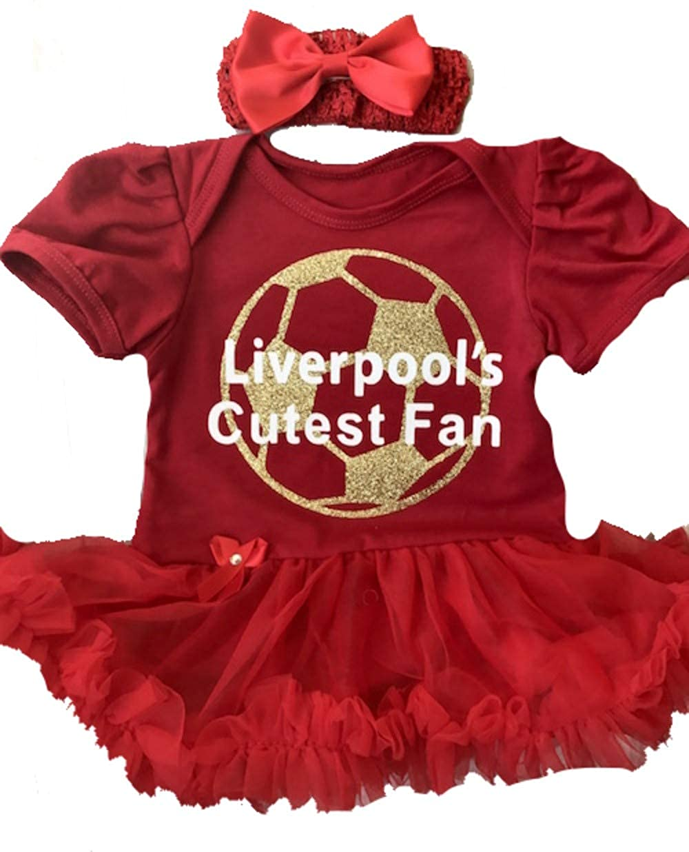 Baby Girl's Liverpool Football Red Tutu Romper Headband, Newborn Baby Football Kit, Gift