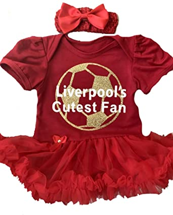 premium selection 07a27 2948c Baby Girl's Liverpool Football Red Tutu Romper Headband, Newborn Baby  Football Kit, Gift