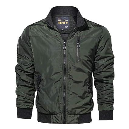 Nuevo otoño color sólido collar casual chaqueta de hombre ...