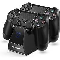 Ankway Cargador para control de PS4, Estación de carga rápida dual para PS4 con indicador LED, Accesorios para control…