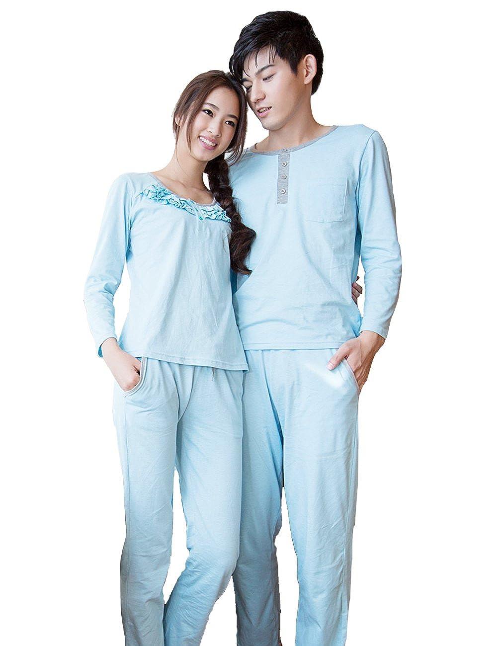 Godsen Couple Pajamas Womens and Mens Cotton Sleepwear Sets
