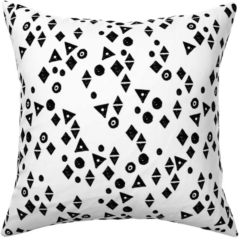 Roostery Throw Pillow Tri Black And White Minimal Mod Shapes Kids Monochrome Print Velvet Knife Edge Accent Pillow 18in X 18in With Insert Home Kitchen