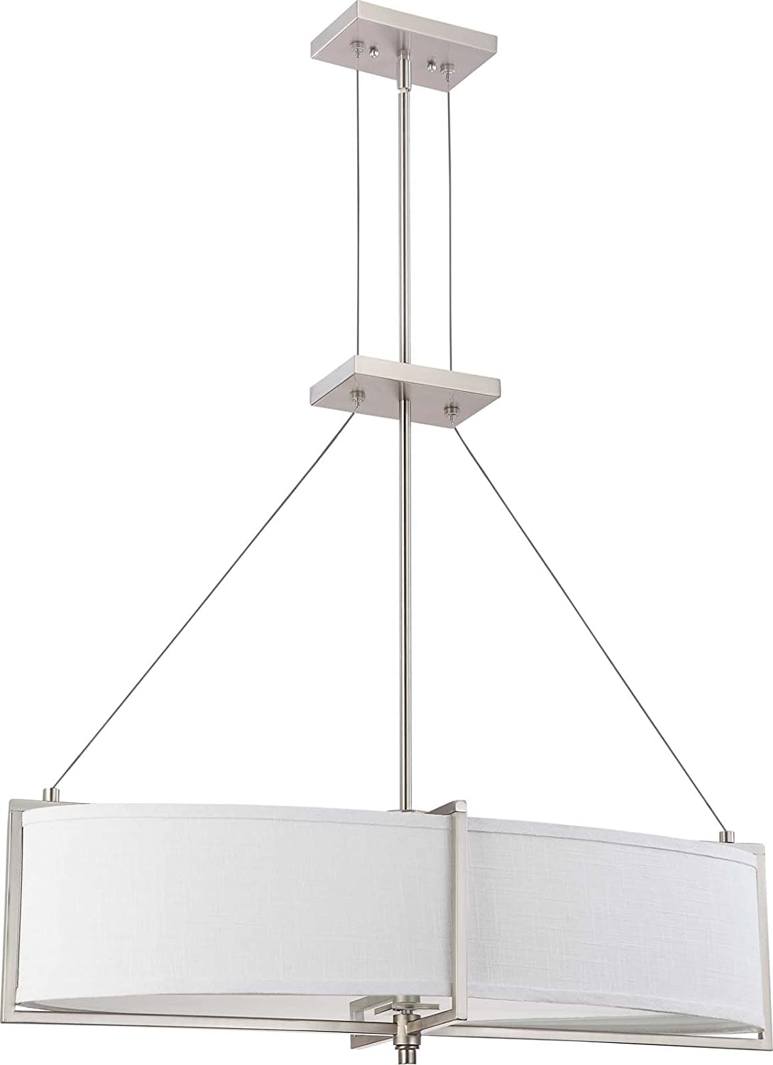 Nuvo lighting 604467 four light portia pendant with slate gray nuvo lighting 604467 four light portia pendant with slate gray fabricfrosted diffuser brushed nickel ceiling pendant fixtures amazon mozeypictures Choice Image