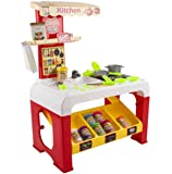 "deAO Food Stand Kitchen ""Color Dough"" Playset 2in1 Includes 8 Different Color Dough and Accessories Lights and Sounds"