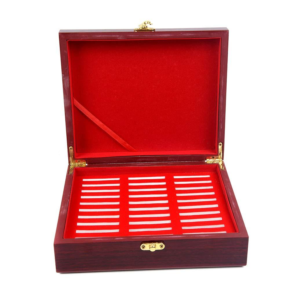 30 Pc Rotondi Monete Supporti di Immagazzinaggio Contenitore della Cassa Portatile Espositore in Legno Box Collection MAyouth Caso Holder Coin