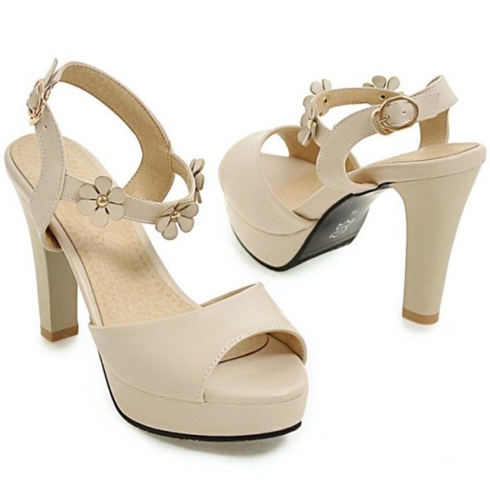RAZAMAZA Women Peep Toe Sandals B07B6KZYG8 US 5 US B07B6KZYG8 = 23 CM|Beige 3ea9c8