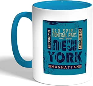 كوب سيراميك للقهوة، لون تركواز، new york بتصميم