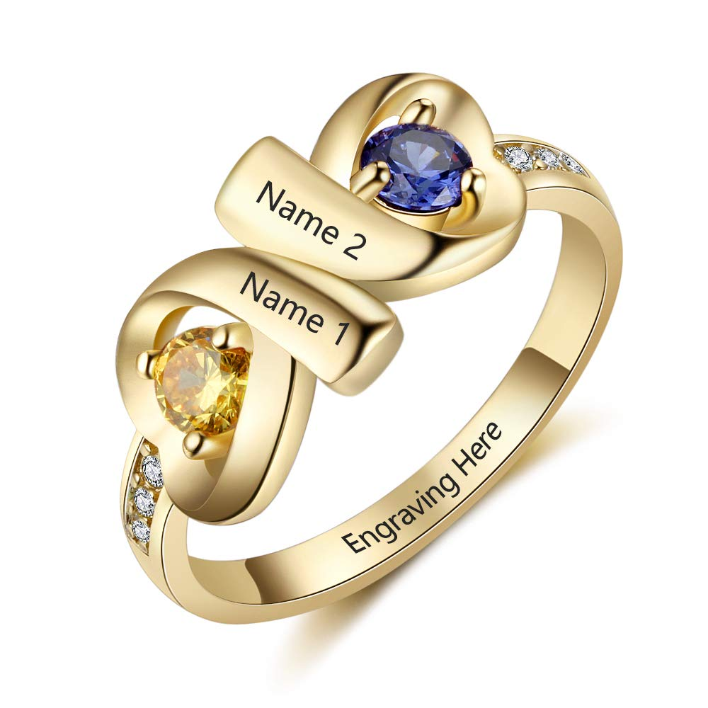 JewelOra Infinity Personalized Promise Rings for Women Engraved Names Mothers Rings with 2 Simulated Birthstones