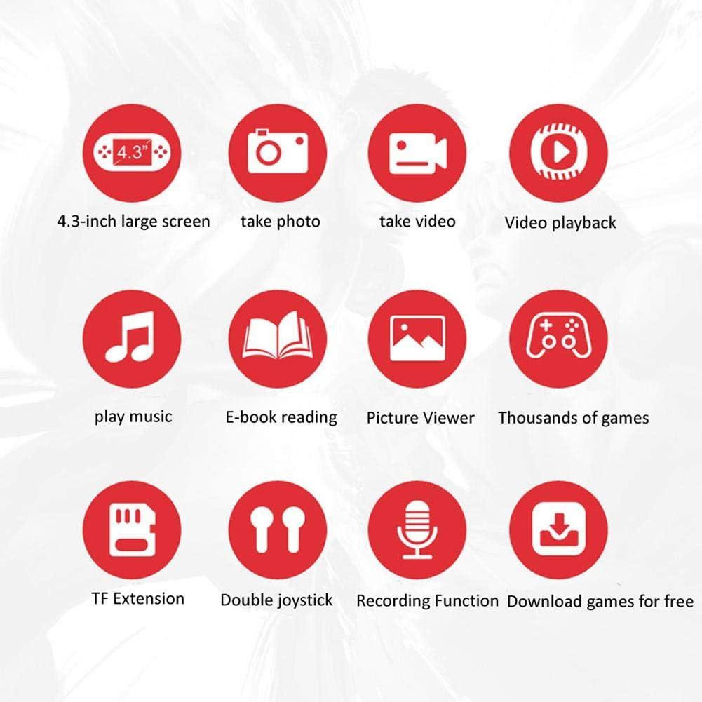 Reproductor de Juegos de Pantalla de 4.3 Pulgadas no branded Consola de Juegos port/átil Consola de Juegos port/átil de Doble Joystick con 3000 Juegos de Memoria de 8G
