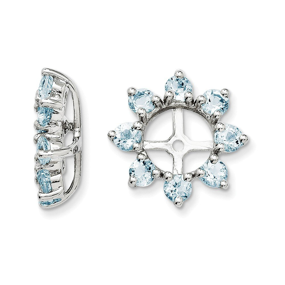 Sterling Silver Rhodium Aquamarine Earring Jacket