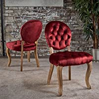 Bloom Tufted Garnet Velvet Dining Chairs (Set of 2)