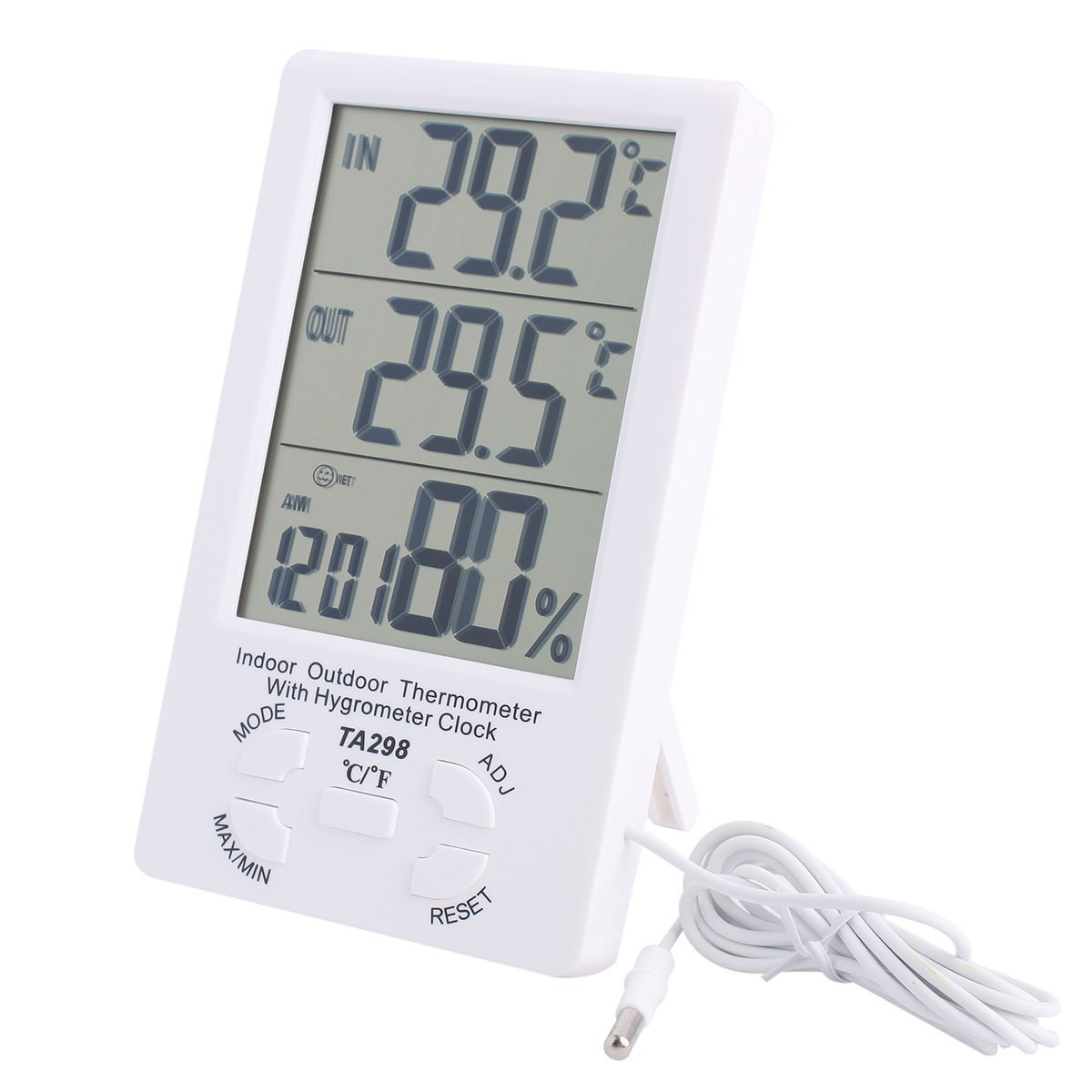 IDS Home 4.4'' LCD Thermometer Hygrometer Digital Temperature Humidity Meter with Probe for Indoor Outdoor