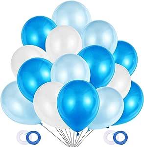 JOJOR Globos Azules y Blancos,100 Piezas Azul Globos Helio Latex Perla Ø 30 cm para Bebe 1 Año Cumpleaños,Niño Bautizos Comunion Baby Shower Azul,Bodas Aniversario Graduacion Fiesta Arco Decoracion: Amazon.es: Juguetes y