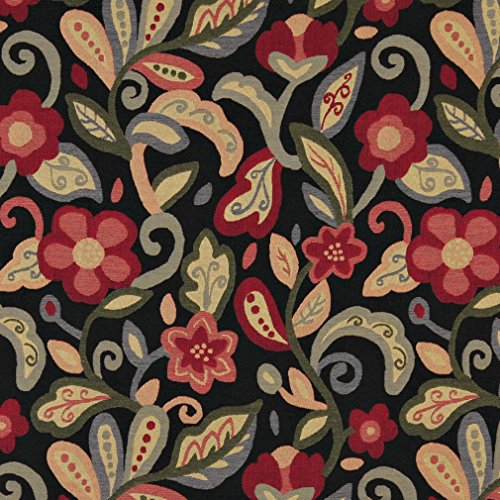 Costume Modern Designers Theatre (A0023C Green Red Orange And Black Floral Contemporary Upholstery Fabric By The)