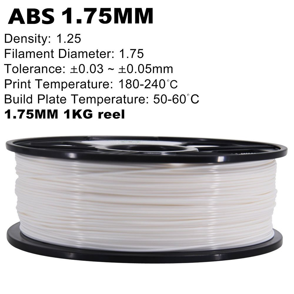 Danti Tech 3d Printer ABS Filament 1,75 mm Dimensional precisión +/-0,05 mm, 1 kg bobina (1,75) - (blanco): Amazon.es: Electrónica