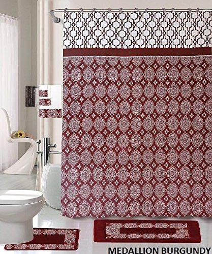 18 Piece Bath Rug Set Burgundy Holiday Red Medallion print bathroom rugs shower curtain/rings and Towels sets-Medallion Burgundy