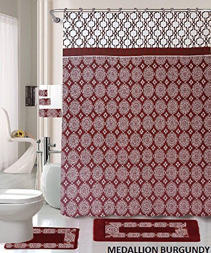 18 Piece Bath Rug Set Burgundy Holiday Red Medallion Print Bathroom Rugs Shower Curtain/Rings and Towels Sets-Medallion Burgundy ()