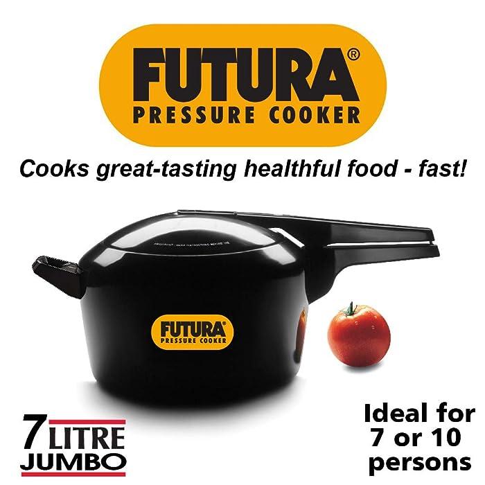 Hawkins O70 Futura Hard Anodized Pressure Cooker, 7 Liter, Black