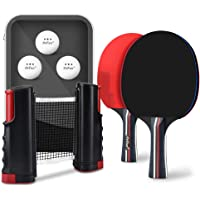 POFUN All-in-ONE Ping Pong Set - Includes Ping Pong Net for Any Table, 2(4-Star) Ping Pong Paddles/Rackets, 3-Star White Ping Pong Balls, Portable Table Tennis Set with Retractable Net