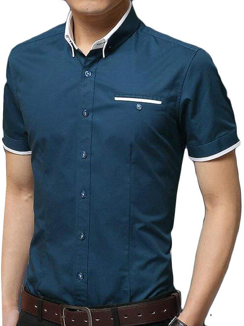 Joe Wenko Mens Casual Juniors Button-Down Short Sleeve No-Iron Dress Shirts
