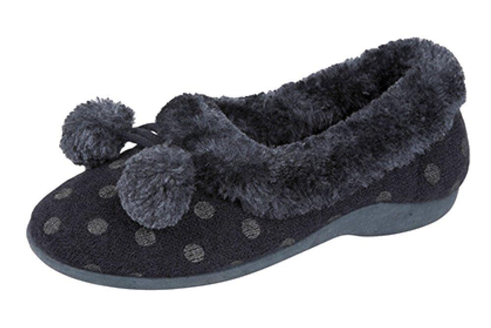 """Damen-Hausschuhe Typ """"Marge"""" mit Pom-Pom Manschette und  Gummisohle: Amazon.de: Schuhe & Handtaschen"""