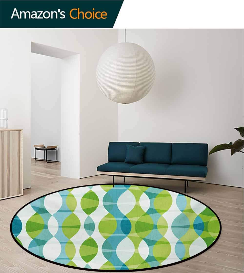 Grunge Modern Machine Washable Round Bath Mat,Geometric Oval Shapes Elliptic Vertical Curves Nature Theme Pattern Non-Slip Living Room Soft Floor Mat,Diameter-55 Inch Apple Green Turquoise White