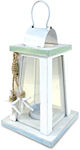 Puzzled Wooden Beach Lantern - White Wood Metal Lanterns with Starfish Rope Accents 6.75 Inch Distressed Hanging and Tabletop Rustic Candle Holder - Unique Home Decor Coastal Lamp - Item 9441-10