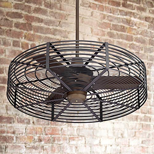 32 Vintage Breeze Industrial Cage Outdoor Ceiling Fan with Remote Oil Rubbed Bronze Black Damp Rated for Patio Porch – Casa Vieja