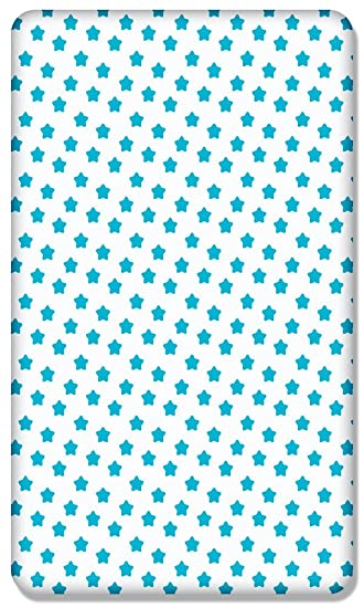 Blue 100/% COTTON FITTED SHEET WITH PRINTED DESIGN FOR BABY CRIB 90x40CM