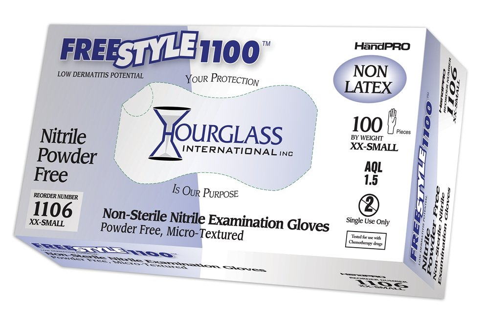 Hourglass HandPRO FreeStyle1100 Nitrile Glove, Exam, Powder Free, 240mm Length, 0.06mm Thick, XX-Small (Case of 10 Boxes, 100/Box)