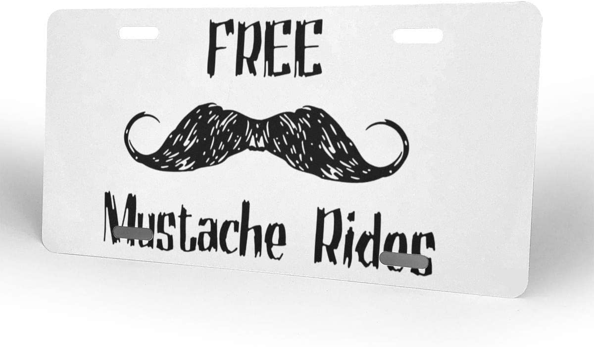 Free Mustache Rides Personalized Custom Novelty Sign Tag Aluminum License Plate 6 X 12-1PCS