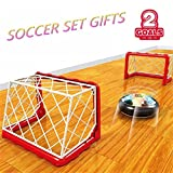 Hover Soccer Ball 2 Goals Net Set Amazing Hovering Toys Air Power Football for Kids Pets Disk Disc Foam Bumpers Colorful LED Lights Indoor Outdoor Football Training Sports Gifts by Yxaomite