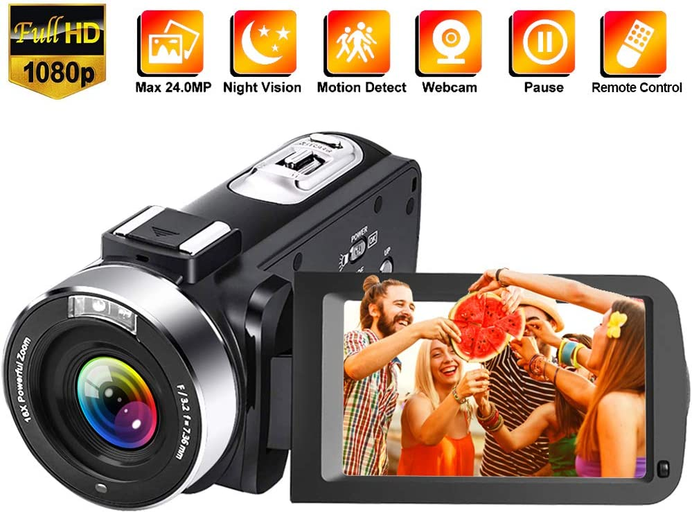 Video Camera Camcorder Full HD 1080P 30FPS 24.0 MP Vlogging Camera IR Night Vision 3.0 Inch IPS Screen 16X Zoom Camcorder Camera with Remote Control