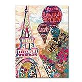 hot air balloon paris - Trademark Fine Art Ballons Sur Paris by Natasha Wescoat, 24x32-Inch Canvas Wall Art